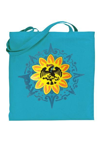 Graphic tote bag Bag Nahua Ollin Mexica/ turquoise