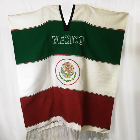 Mexican Patriot Poncho Poncho Import White Flag