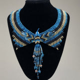 Shakira Jewelry Set - Earrings, Necklace, Bracelet - Mexican Indigenous HandMade Necklace Import Blue Hummingbird