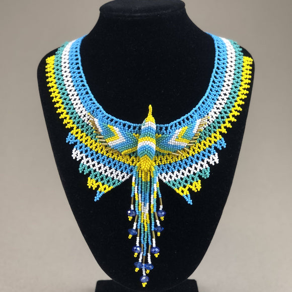 Shakira Jewelry - Necklace - Mexican Indigenous HandMade Necklace Import Blue, Yellow, White Hummingbird