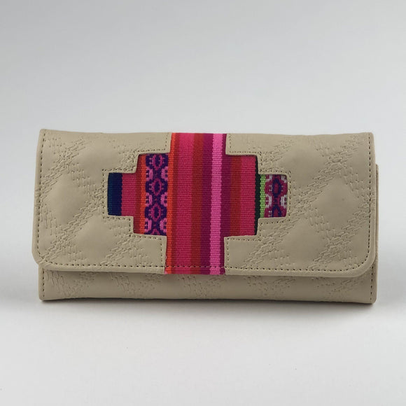 Vegan Leather Wallet - Handmade - Aztec Print - Peruvian Wallet Import Cream