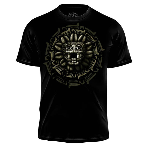 Quetzal Circle Graphic T-shirt (Men's) Men Shirts Nahua Ollin Crew Black XXL