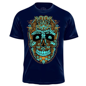 Miquiztli Skull - Men's Graphic Tee NahuaOllin Black & White S