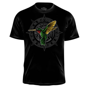 Huitzilin Premium Graphic T-shirt (Men's) Men Shirts Nahua Ollin Crew Neck Black S