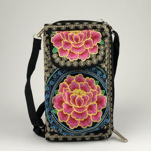 Phone Purse Wallet - Colorful Mexican Embroidered - Handmade in Mexico Wallet Import Hot Pink Flower
