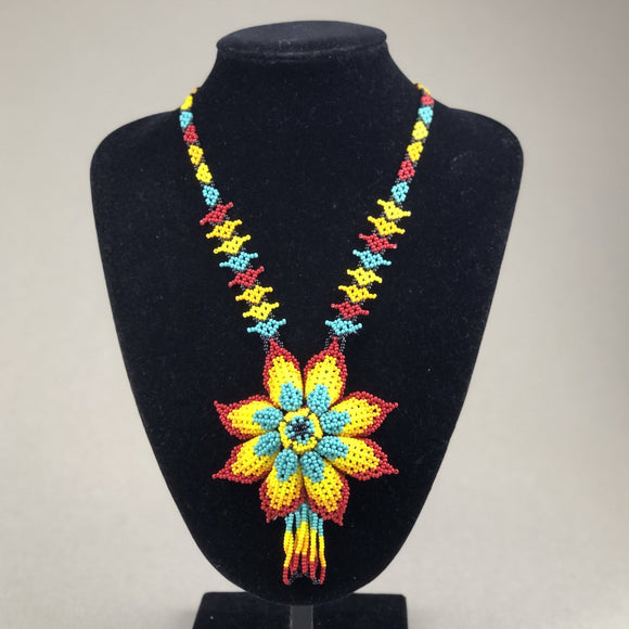 Shakira Jewelry - Necklace - Mexican Indigenous HandMade Necklace Import Red, Yellow, Blue Flower