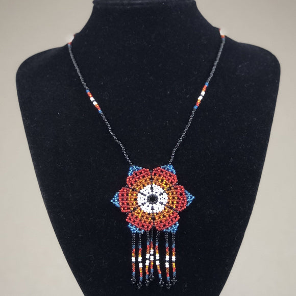 Shakira Jewelry - Necklace - Mexican Indigenous HandMade Necklace Import Blue Red Flower