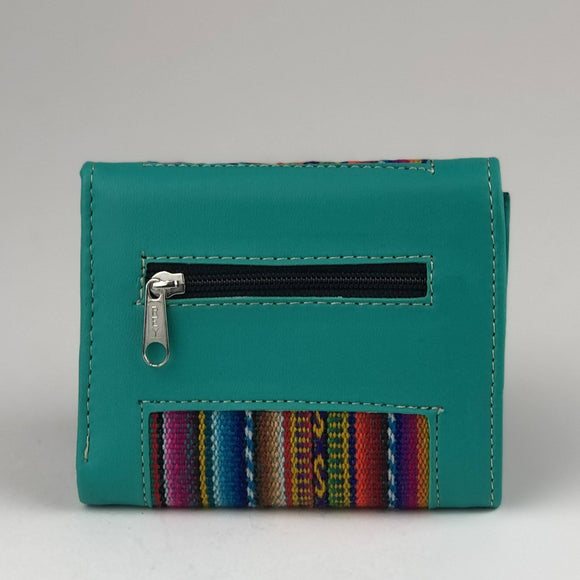 Four Layer Vegan Leather Wallet - Handmade - Aztec Print Wallet Import