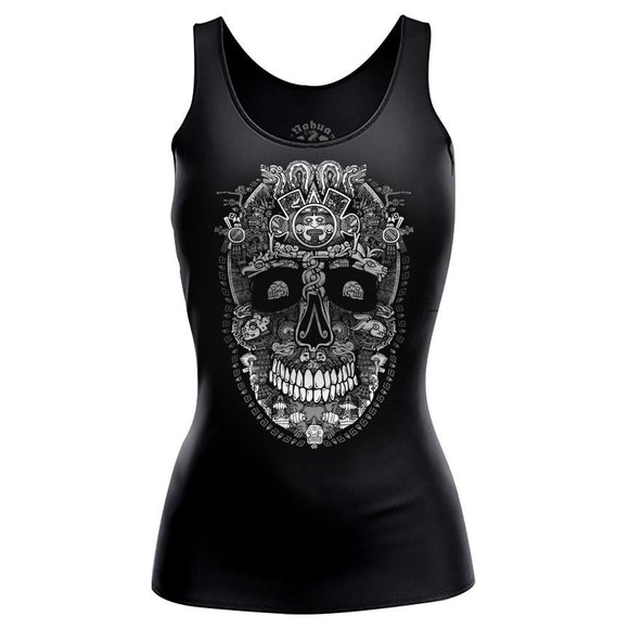 Miquiztli Women's Tee Nahua Ollin Tank Top Black S