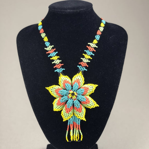 Shakira Jewelry - Necklace - Mexican Indigenous HandMade Necklace Import Yellow, Orange, Blue Flower