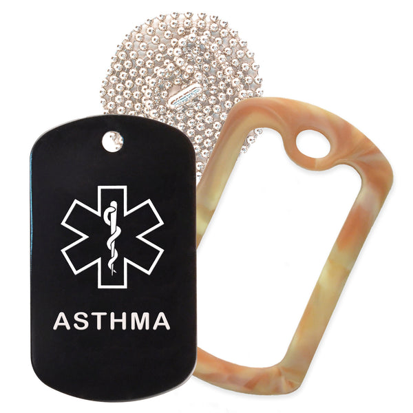 Black Medical ID Asthma Necklace with Desert Camo Rubber Silencer and 30'' Ball Chain