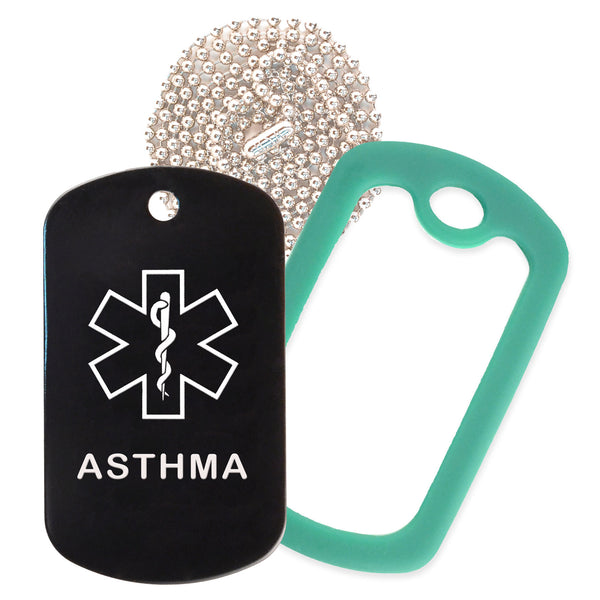 Black Medical ID Asthma Necklace with Green Rubber Silencer and 30'' Ball Chain