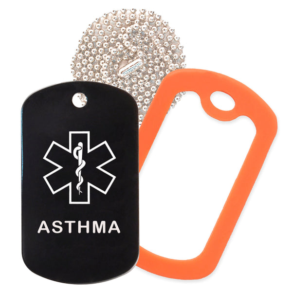 Black Medical ID Asthma Necklace with Orange Rubber Silencer and 30'' Ball Chain