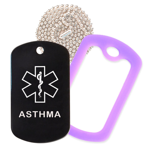Black Medical ID Asthma Necklace with Purple Rubber Silencer and 30'' Ball Chain