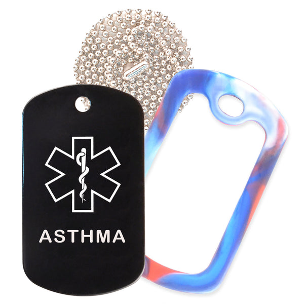 Black Medical ID Asthma Necklace with Red White and Blue Rubber Silencer and 30'' Ball Chain