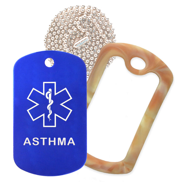 Blue Medical ID Asthma Necklace with Desert Camo Rubber Silencer and 30'' Ball Chain
