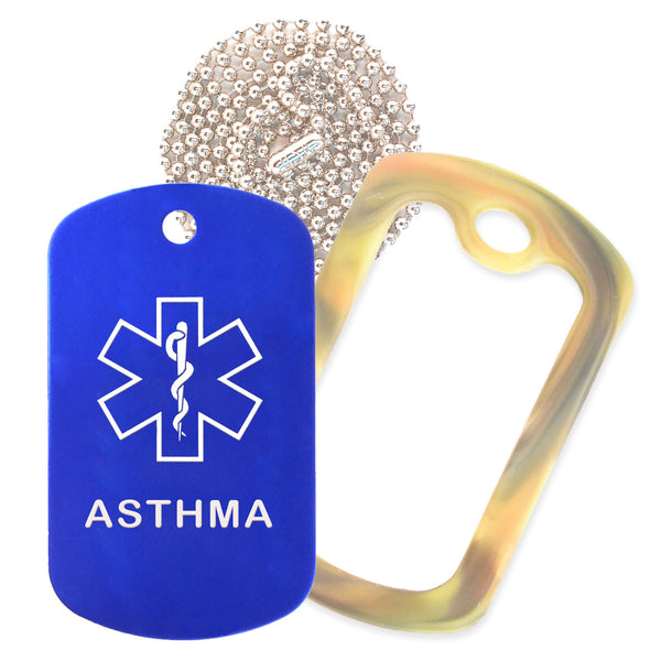 Blue Medical ID Asthma Necklace with Forest Camo Rubber Silencer and 30'' Ball Chain