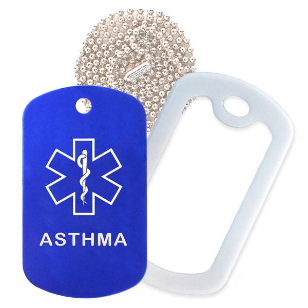 Blue Medical ID Asthma Necklace with White Rubber Silencer and 30'' Ball Chain