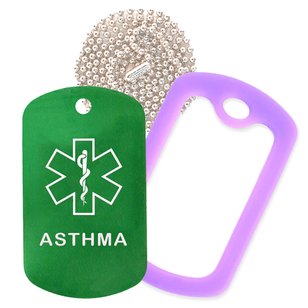 Green Medical ID Asthma Necklace with Purple Rubber Silencer and 30'' Ball Chain