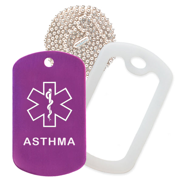Purple Medical ID Asthma Necklace with Clear Rubber Silencer and 30'' Ball Chain
