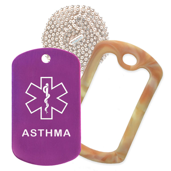 Purple Medical ID Asthma Necklace with Desert Camo Rubber Silencer and 30'' Ball Chain