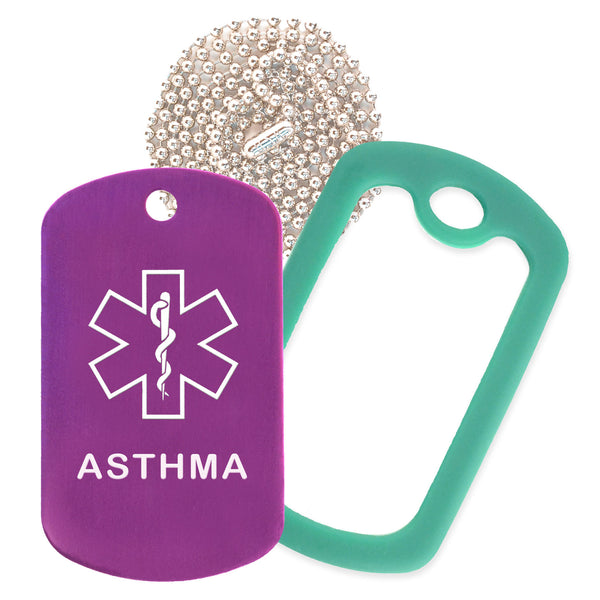 Purple Medical ID Asthma Necklace with Green Rubber Silencer and 30'' Ball Chain