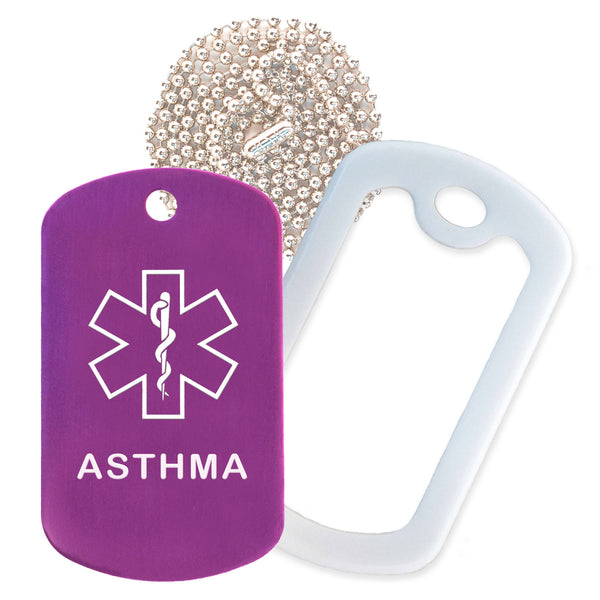Purple Medical ID Asthma Necklace with White Rubber Silencer and 30'' Ball Chain