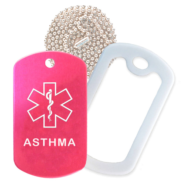 Hot Pink Medical ID Asthma Necklace with White Rubber Silencer and 30'' Ball Chain