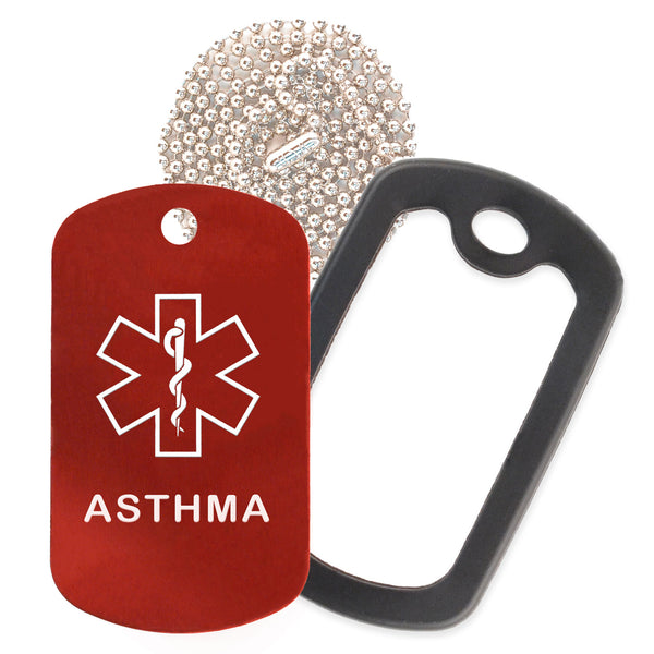 Red Medical ID Asthma Necklace with Black Rubber Silencer and 30'' Ball Chain