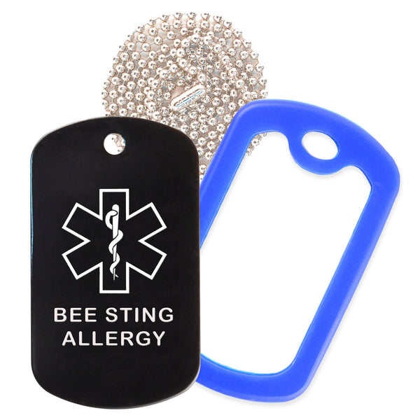 Black Medical ID Bee Sting Allergy Necklace with Blue Rubber Silencer and 30'' Ball Chain