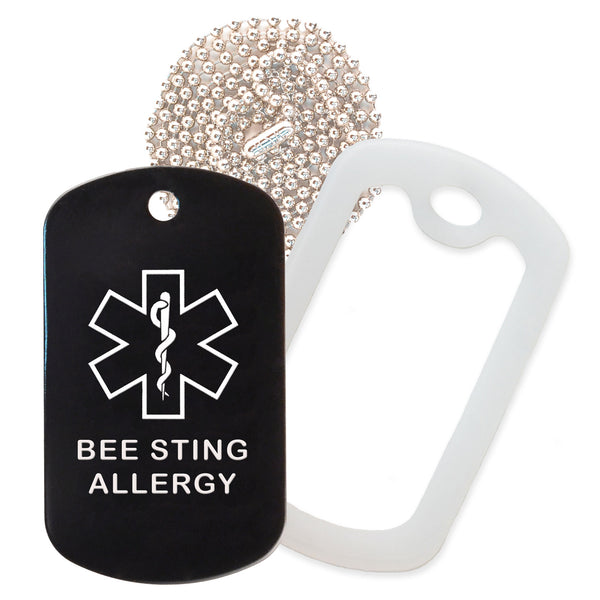 Black Medical ID Bee Sting Allergy Necklace with Clear Rubber Silencer and 30'' Ball Chain