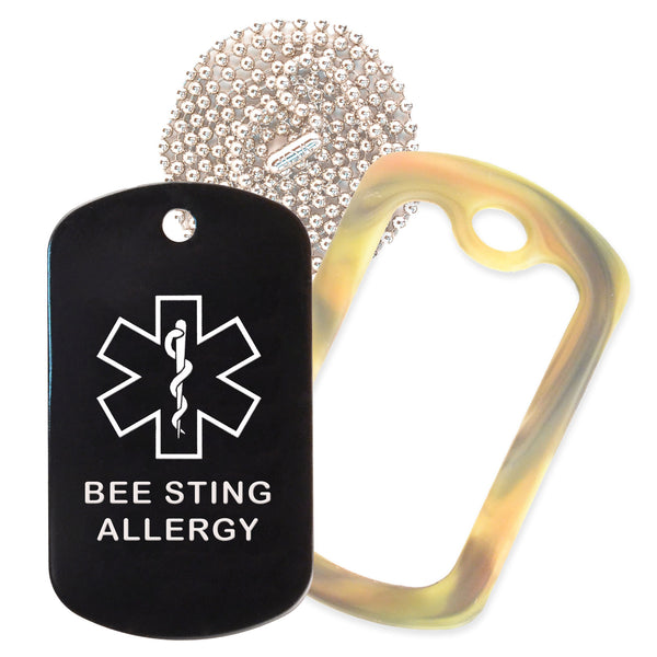 Black Medical ID Bee Sting Allergy Necklace with Forest Camo Rubber Silencer and 30'' Ball Chain
