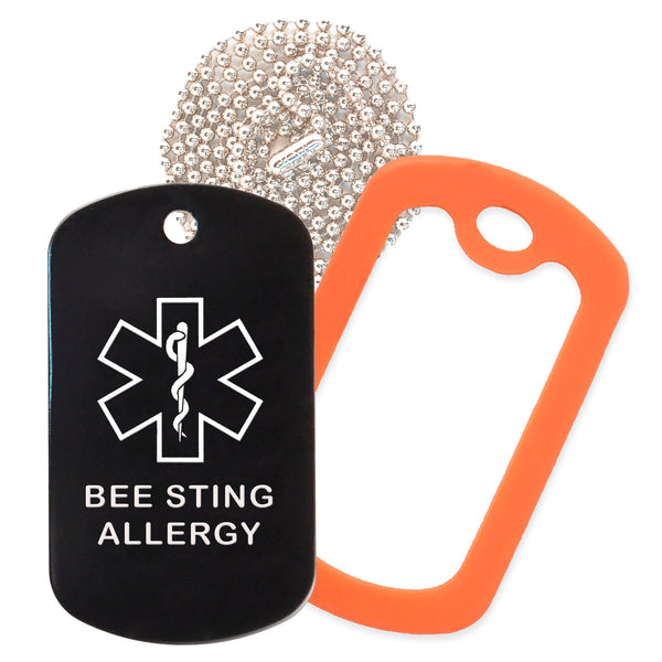 Black Medical ID Bee Sting Allergy Necklace with Orange Rubber Silencer and 30'' Ball Chain