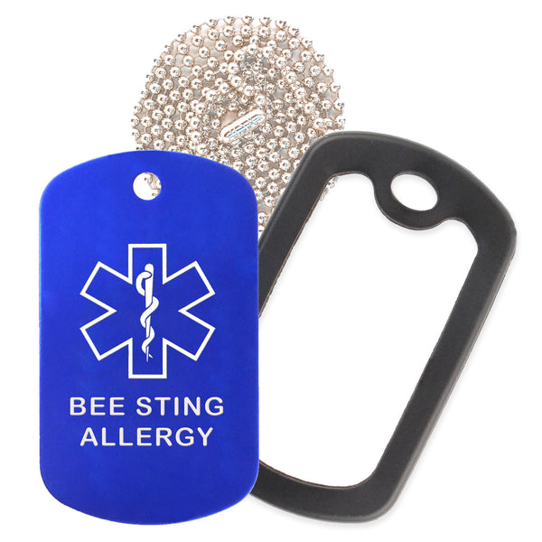 Blue Medical ID Bee Sting Allergy Necklace with Black Rubber Silencer and 30'' Ball Chain