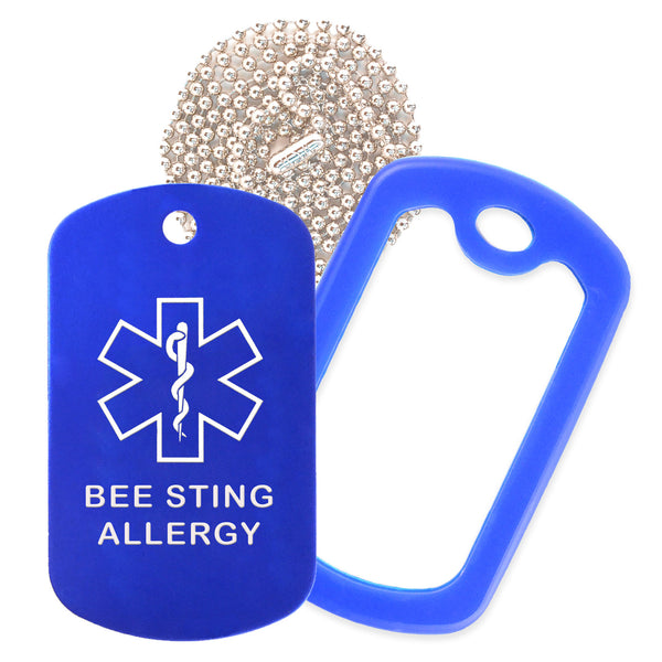 Blue Medical ID Bee Sting Allergy Necklace with Blue Rubber Silencer and 30'' Ball Chain