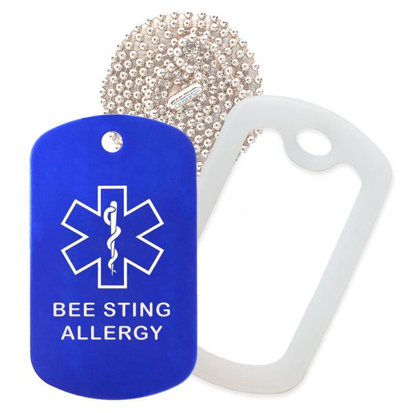 Blue Medical ID Bee Sting Allergy Necklace with Clear Rubber Silencer and 30'' Ball Chain