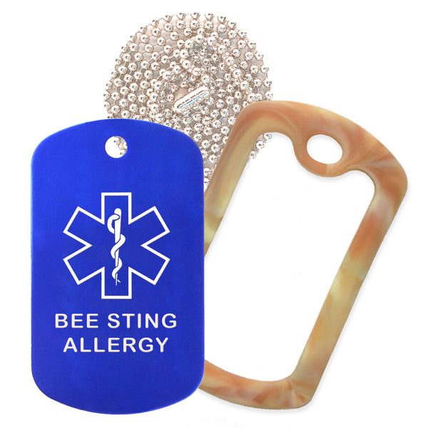 Blue Medical ID Bee Sting Allergy Necklace with Desert Camo Rubber Silencer and 30'' Ball Chain