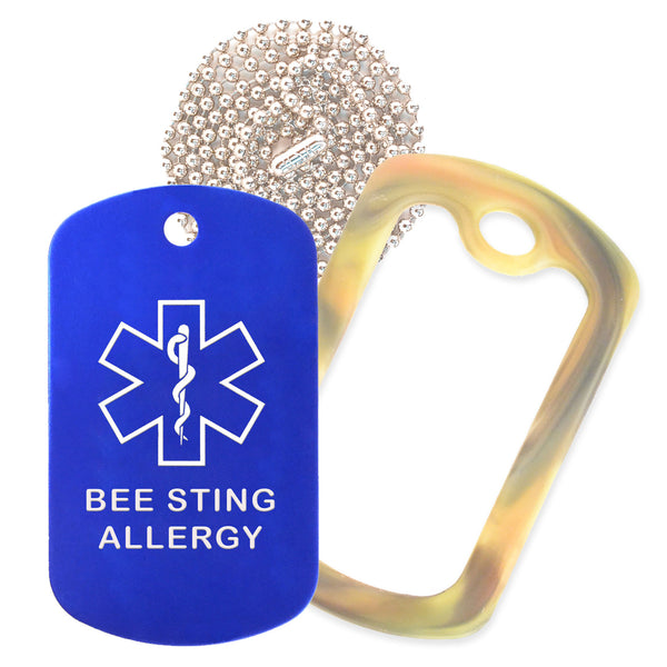 Blue Medical ID Bee Sting Allergy Necklace with Forest Camo Rubber Silencer and 30'' Ball Chain