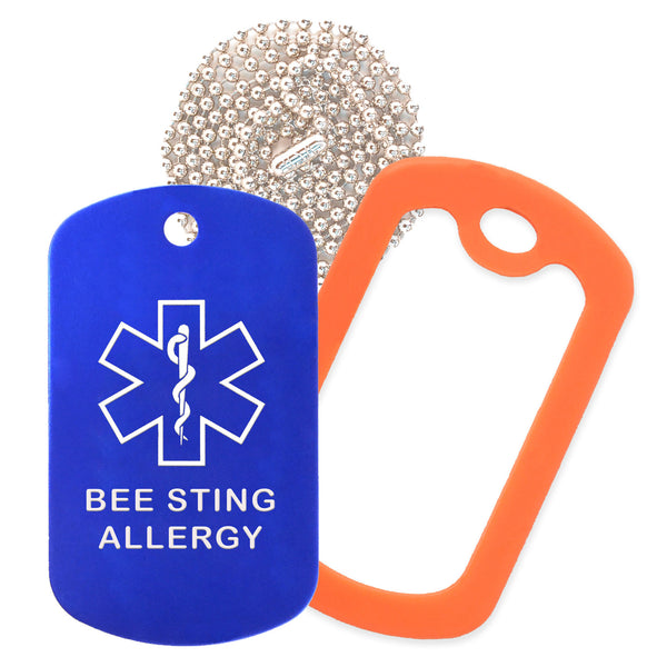 Blue Medical ID Bee Sting Allergy Necklace with Orange Rubber Silencer and 30'' Ball Chain