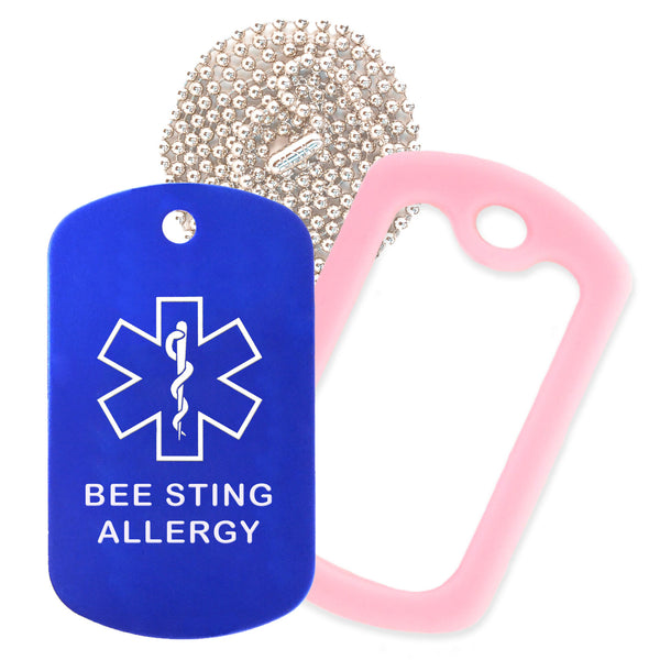 Blue Medical ID Bee Sting Allergy Necklace with Pink Rubber Silencer and 30'' Ball Chain