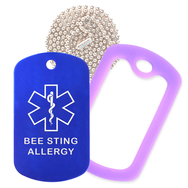 Blue Medical ID Bee Sting Allergy Necklace with Purple Rubber Silencer and 30'' Ball Chain