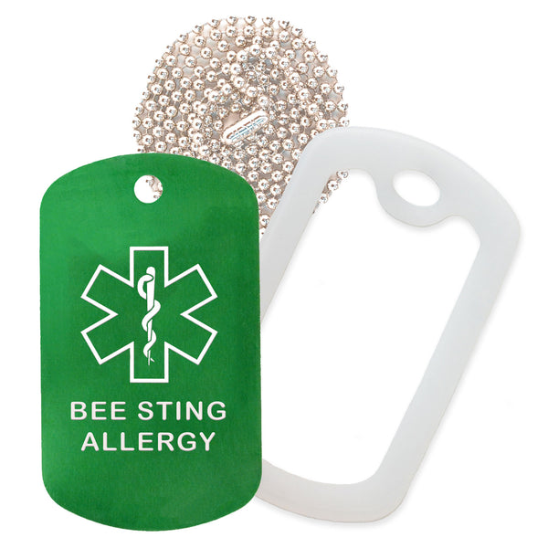Green Medical ID Bee Sting Allergy Necklace with Clear Rubber Silencer and 30'' Ball Chain