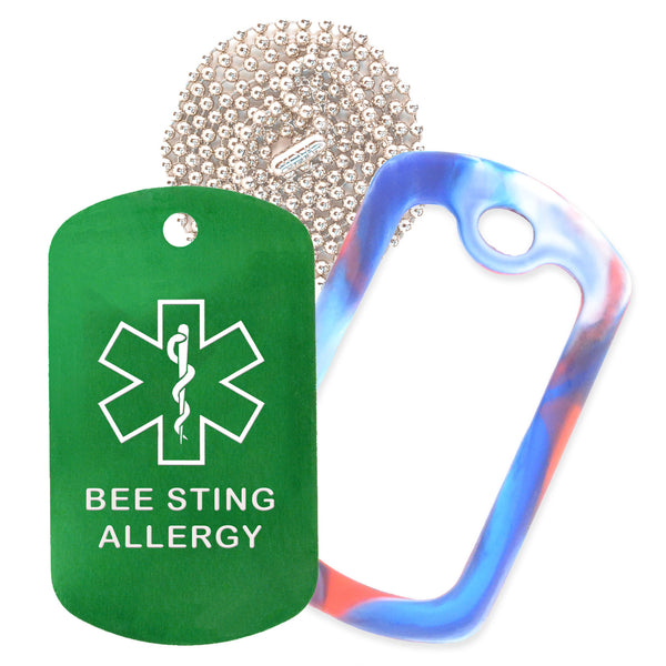 Green Medical ID Bee Sting Allergy Necklace with Red White and Blue Rubber Silencer and 30'' Ball Chain