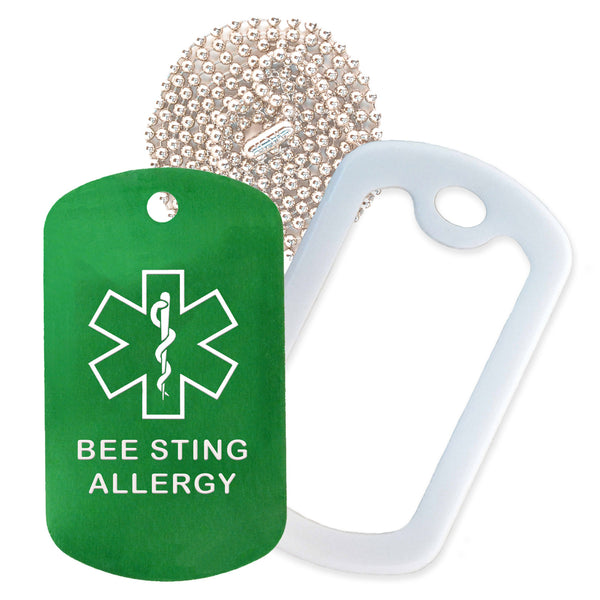 Green Medical ID Bee Sting Allergy Necklace with White Rubber Silencer and 30'' Ball Chain