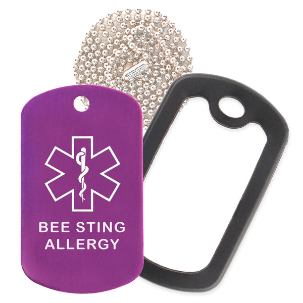 Purple Medical ID Bee Sting Allergy Necklace with Black Rubber Silencer and 30'' Ball Chain