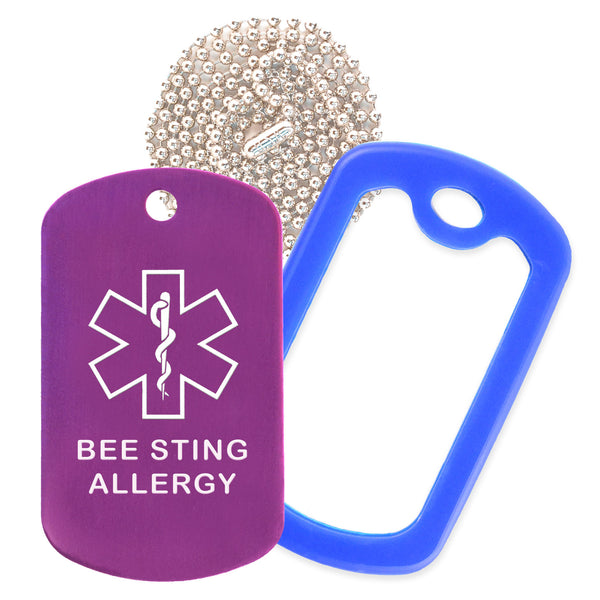 Purple Medical ID Bee Sting Allergy Necklace with Blue Rubber Silencer and 30'' Ball Chain