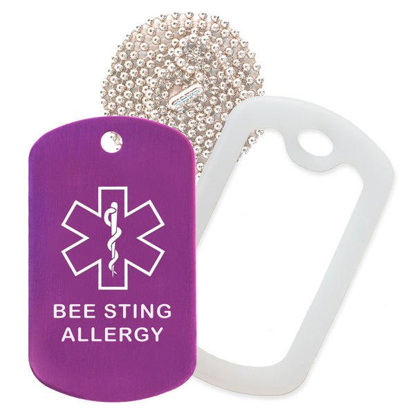 Purple Medical ID Bee Sting Allergy Necklace with Clear Rubber Silencer and 30'' Ball Chain