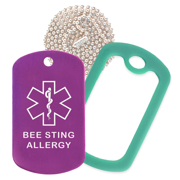 Purple Medical ID Bee Sting Allergy Necklace with Green Rubber Silencer and 30'' Ball Chain
