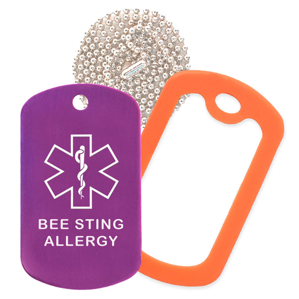 Purple Medical ID Bee Sting Allergy Necklace with Orange Rubber Silencer and 30'' Ball Chain