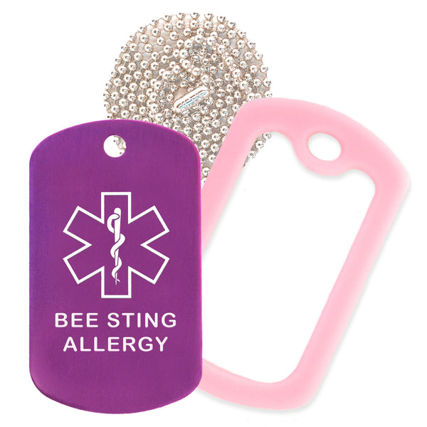 Purple Medical ID Bee Sting Allergy Necklace with Pink Rubber Silencer and 30'' Ball Chain